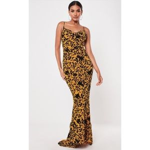 Missguided Mustard Devore Cowl Front Maxi Dress